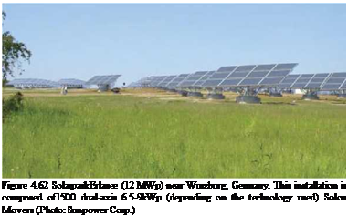 Подпись: Figure 4.62 SolarparkErlasee (12 MWp) near Wurzburg, Germany. This installation is composed of1500 dual-axis 6.5-9kWp (depending on the technology used) Solon Movers (Photo: Sunpower Corp.)